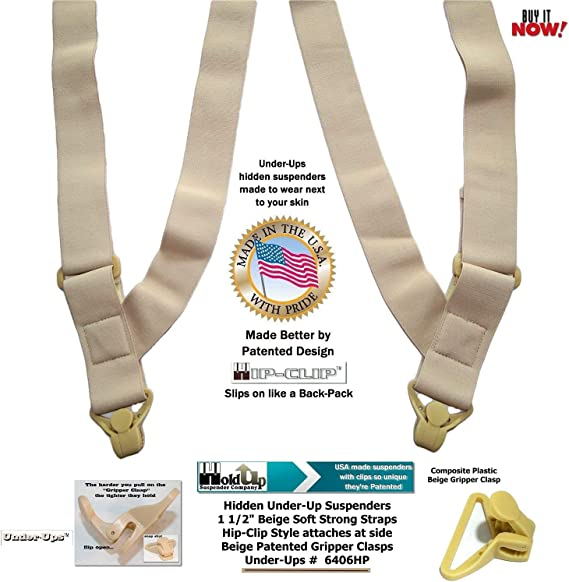 Men or Women Hold Your Pants Up VERTICAL Clip-On Invisible Suspenders USA MADE