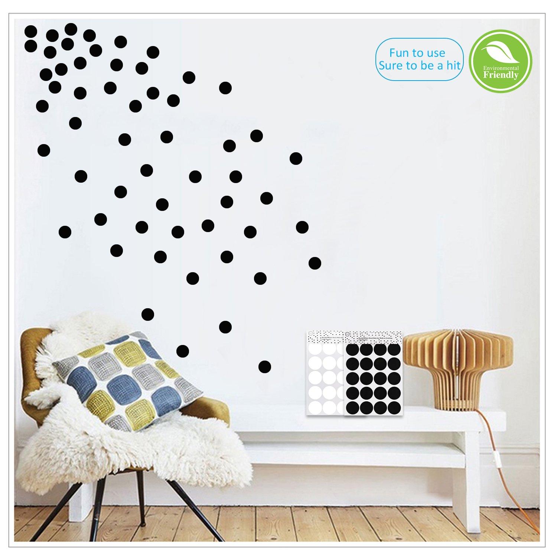 Light up world black wall decals polka dots vinyl stickers circle art wall decor self adhesive