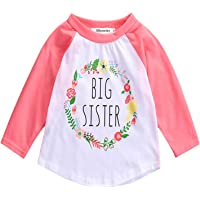2Bunnies Girl Baby Girl Big Sister Flower Floral Wreath T- Shirt Tee