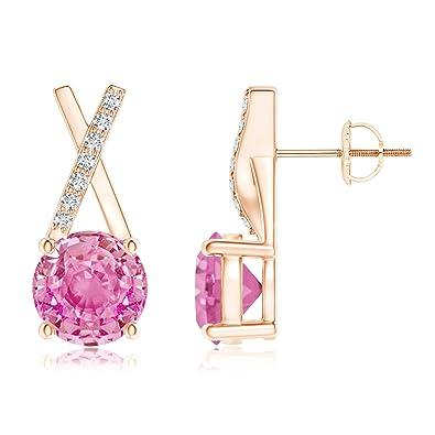2c06cb2e399 Amazon.com  Pink Sapphire and Diamond XO Stud Earrings in 14K Rose Gold  (6mm Pink Sapphire)  Jewelry