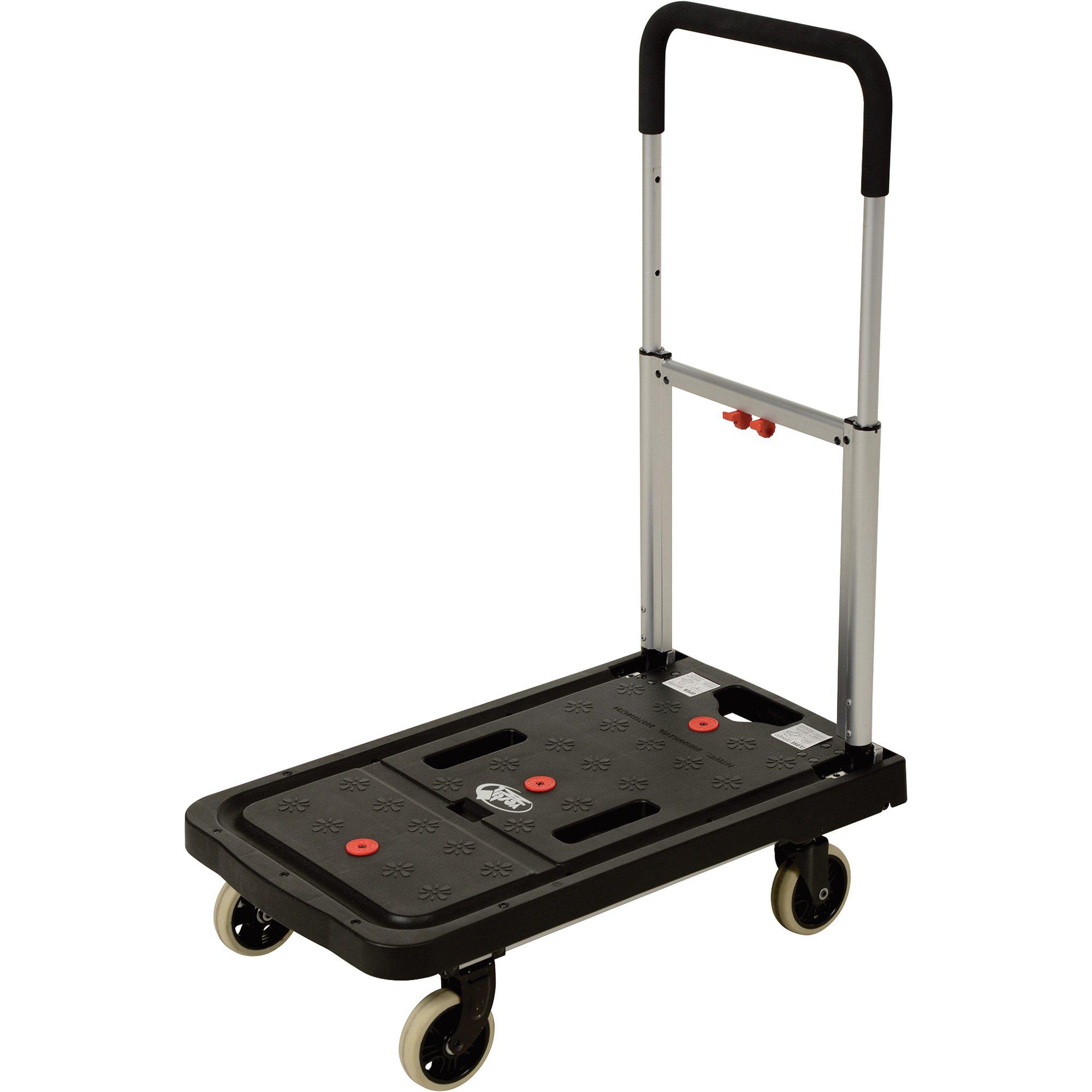 Vestil FF-FPT-1627 Fold Flat Plastic Cart, 26.75'' Length, 16.25'' Width, 36.5'' Height, 300 lb., Black