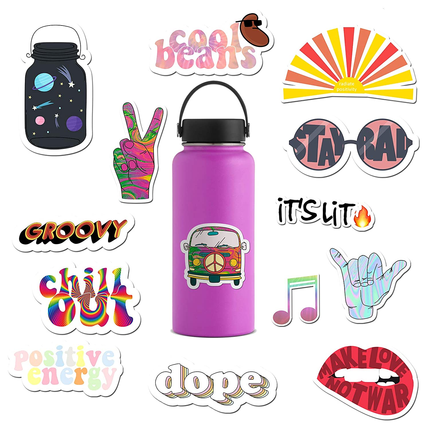 14 pack cute hippie groovy laptop stickers for teens hydro flask stickers for water bottles computer sticker for laptop trippy stickers