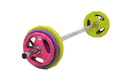 Juego de pesas doméstico, de FunctionalFitness, con barra de cromo y discos de goma de colores ...