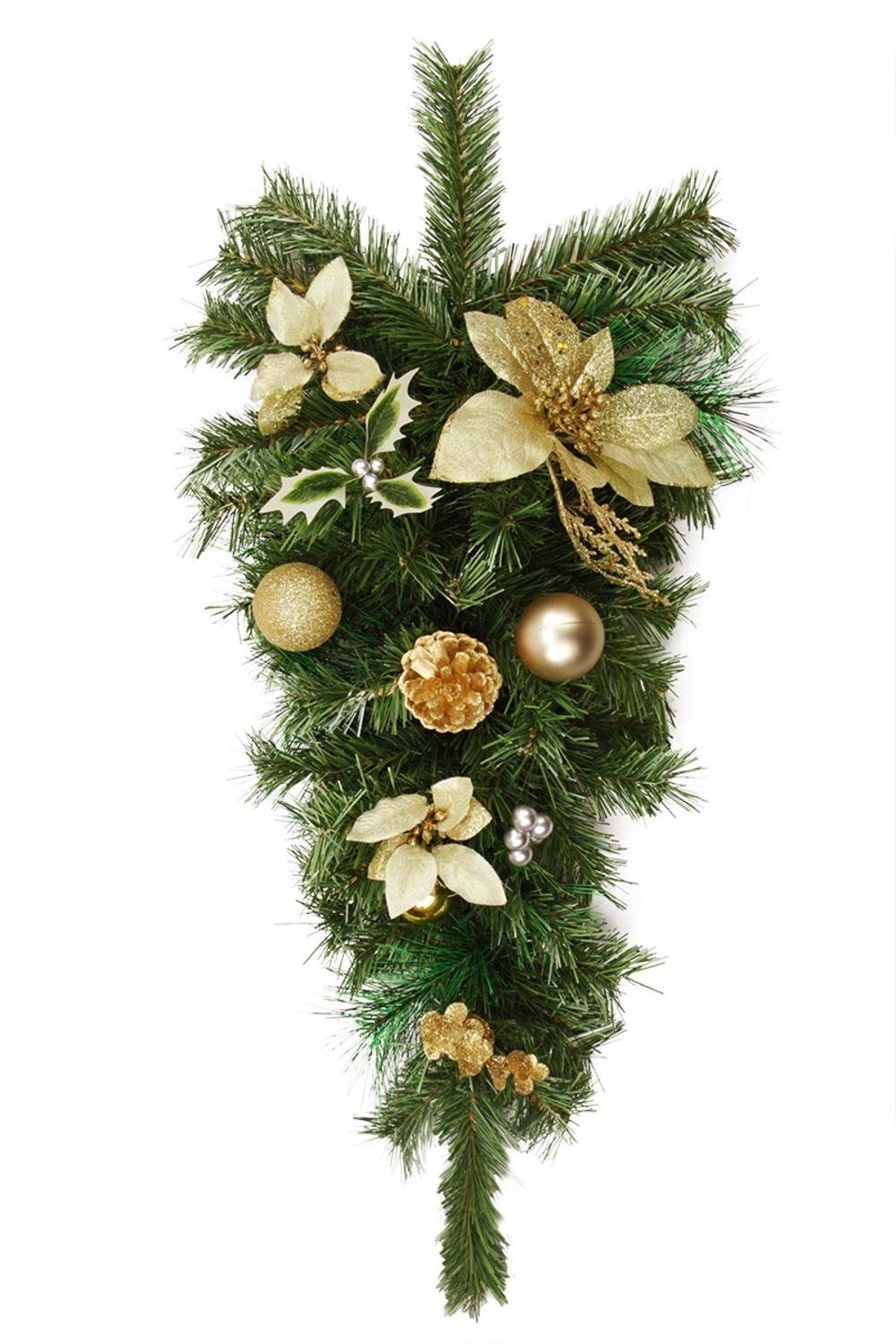 Northlight 32'' Pre-Decorated Gold Poinsettia, Pine Cone and Ball Artificial Christmas Teardrop Swag - Unlit