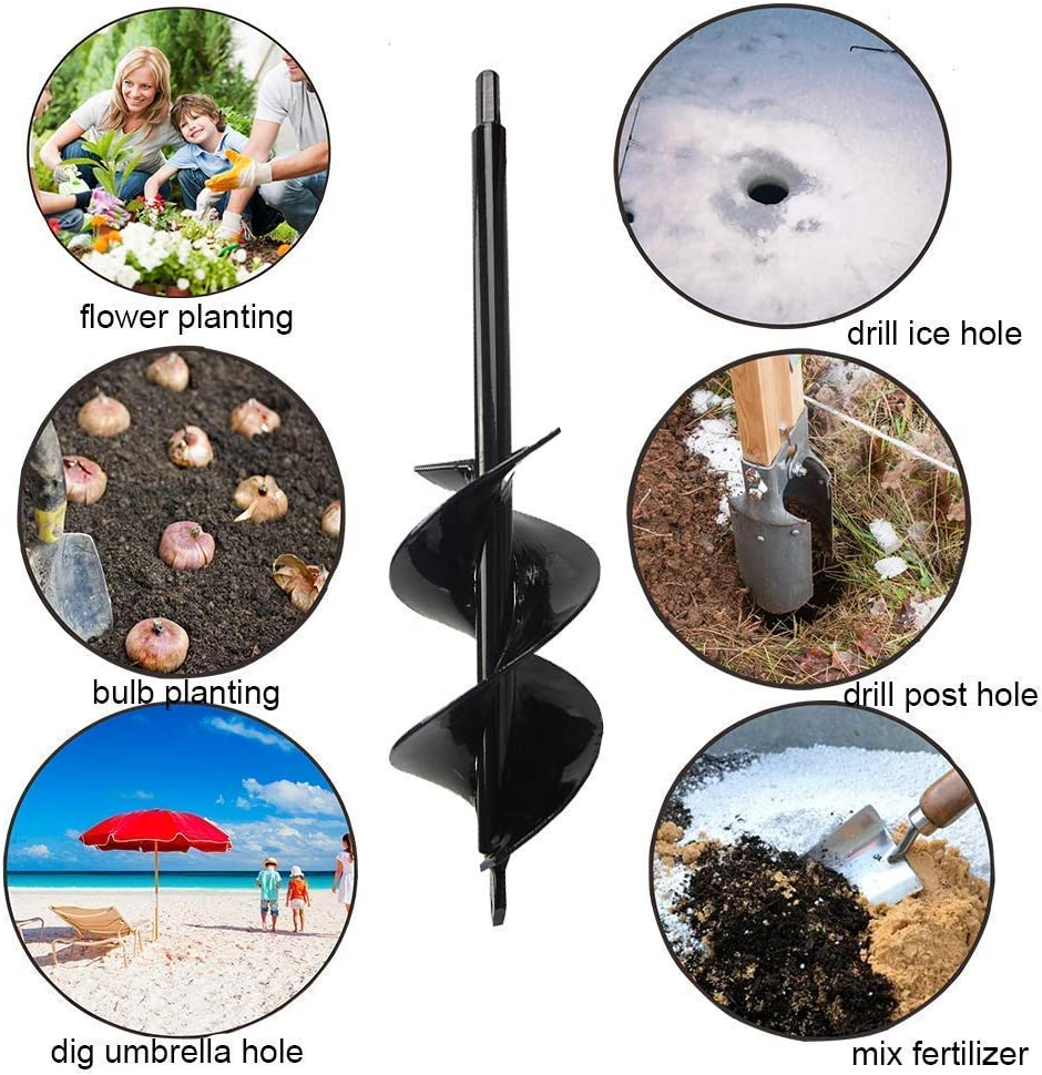 Auger Drill Bit Garden 3x12 /& 3x7 Solid Barrel Dual-Blades Plant Flower Bulb Auger Spiral Hole Drill Rapid Planter Earth Post Umbrella Hole Digger for Most 3//8 Hex Drive Drill for Any Kind Soil