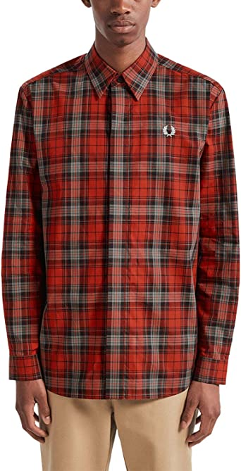Fred Perry Mens Bold Tartan Shirt Red in Size X-Large: Amazon.es ...