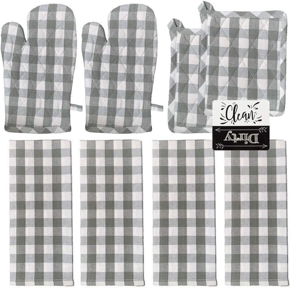 Oven Mitts and Pot Holders Sets with 4 Kitchen Towels 8 Piece Kitchen Set (Gray)