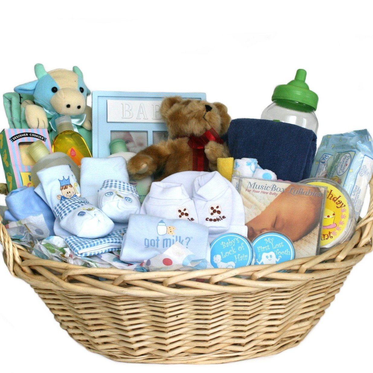 Amazon deluxe baby gift basket blue for boys great shower amazon deluxe baby gift basket blue for boys great shower gift idea for newborns baby negle Images