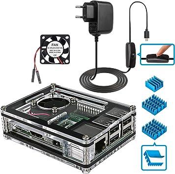 Miuzei Caja para Raspberry Pi 3,Carcasa para Raspberry Pi 3 Modelo B con Ventilador de refrigeración,disipadores ...