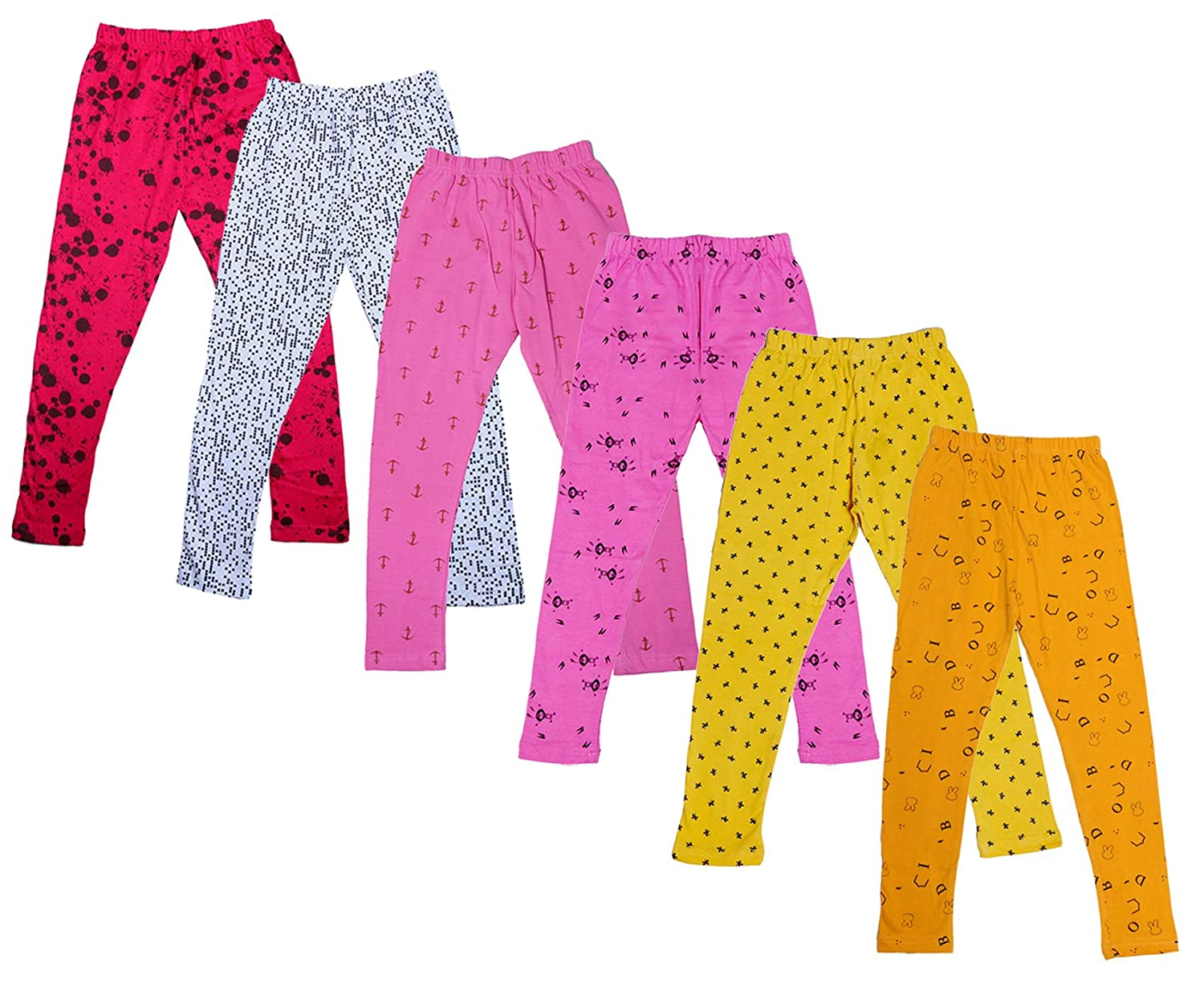 Indistar Little Girls Super Soft Cotton Leggings Combo Pack Of 3