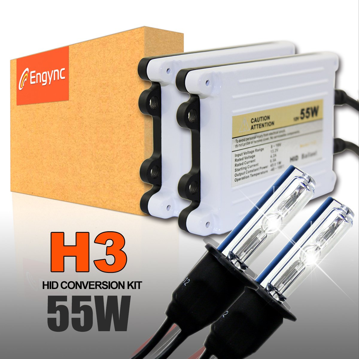 Engync® 55W AC H13 (9008) Bi-Xenon Xenon HID Conversion Kit with Premium Ballasts and 3 Year Warranty | Hi/Low Diamond White/Hyper White/Pure White Color (6000K)