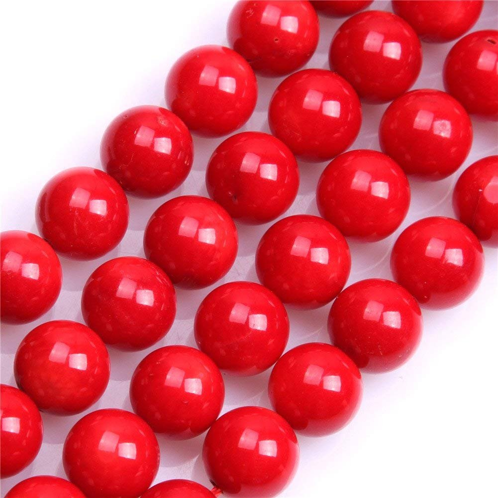 1e9bf09d91463 8mm Red Coral Beads Round Loose Gemstone Beads for Jewelry Making Strand 15  Inch (47-50pcs)