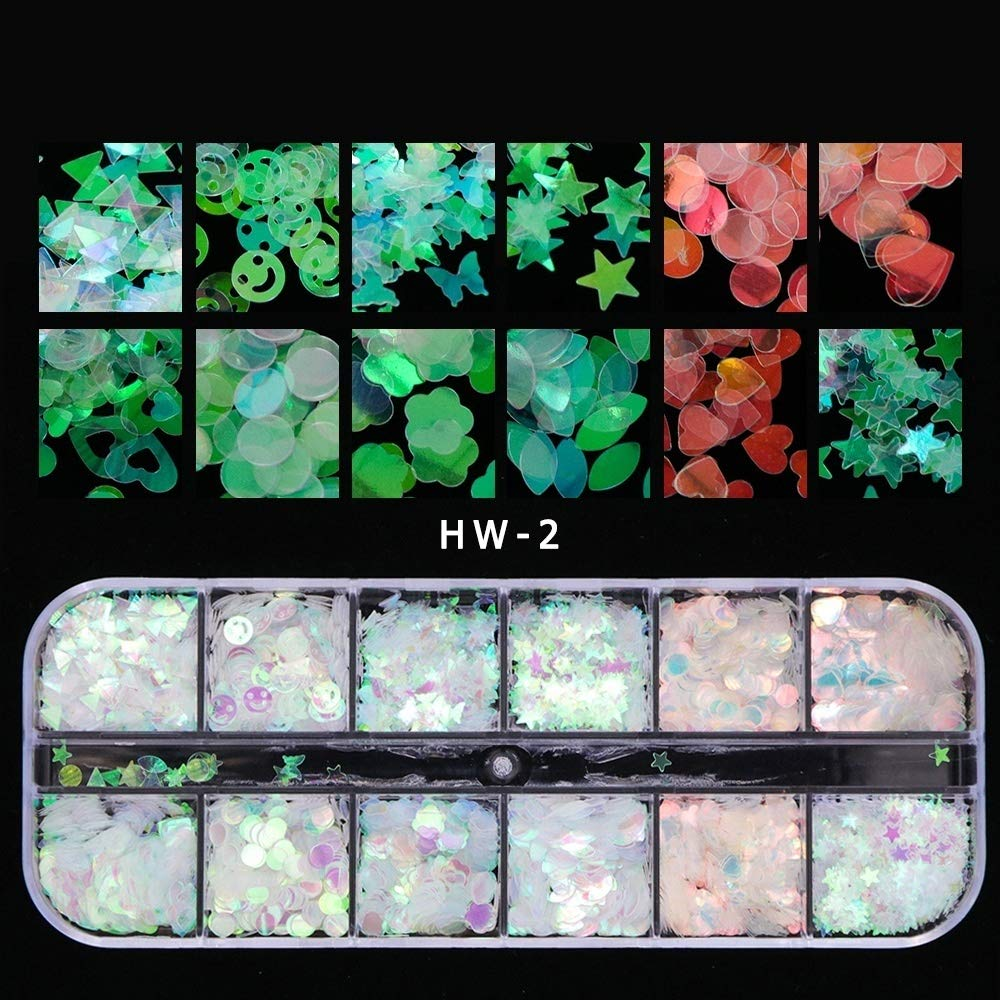 12 Boxes Holographic Nail Sequins Iridescent Mermaid Flakes Colorful