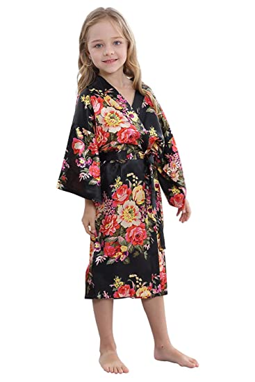 TIMSOPHIA Kids Satin Floral Kimono Robe-Flower Girl Bath Robe for Wedding  Party Gift( fb1f5d53d