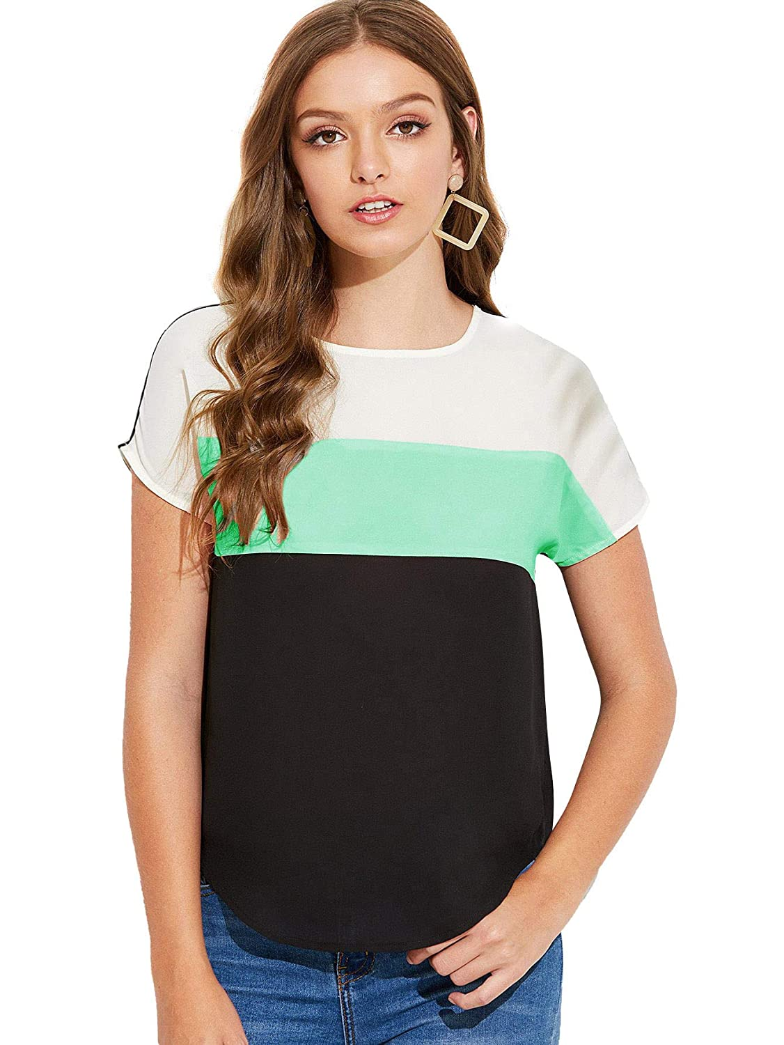 Multi2 Floerns Women's Casual Short Sleeve color Block Striped TShirt Blouse