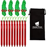 GEERTOP 10 Pack 7-in Aluminum Tent Pegs Stakes & 4 Pack 4mm Reflective Guy lines with Cord Adjuster & Pouch for Hiking Camping Mountaineering (Red)