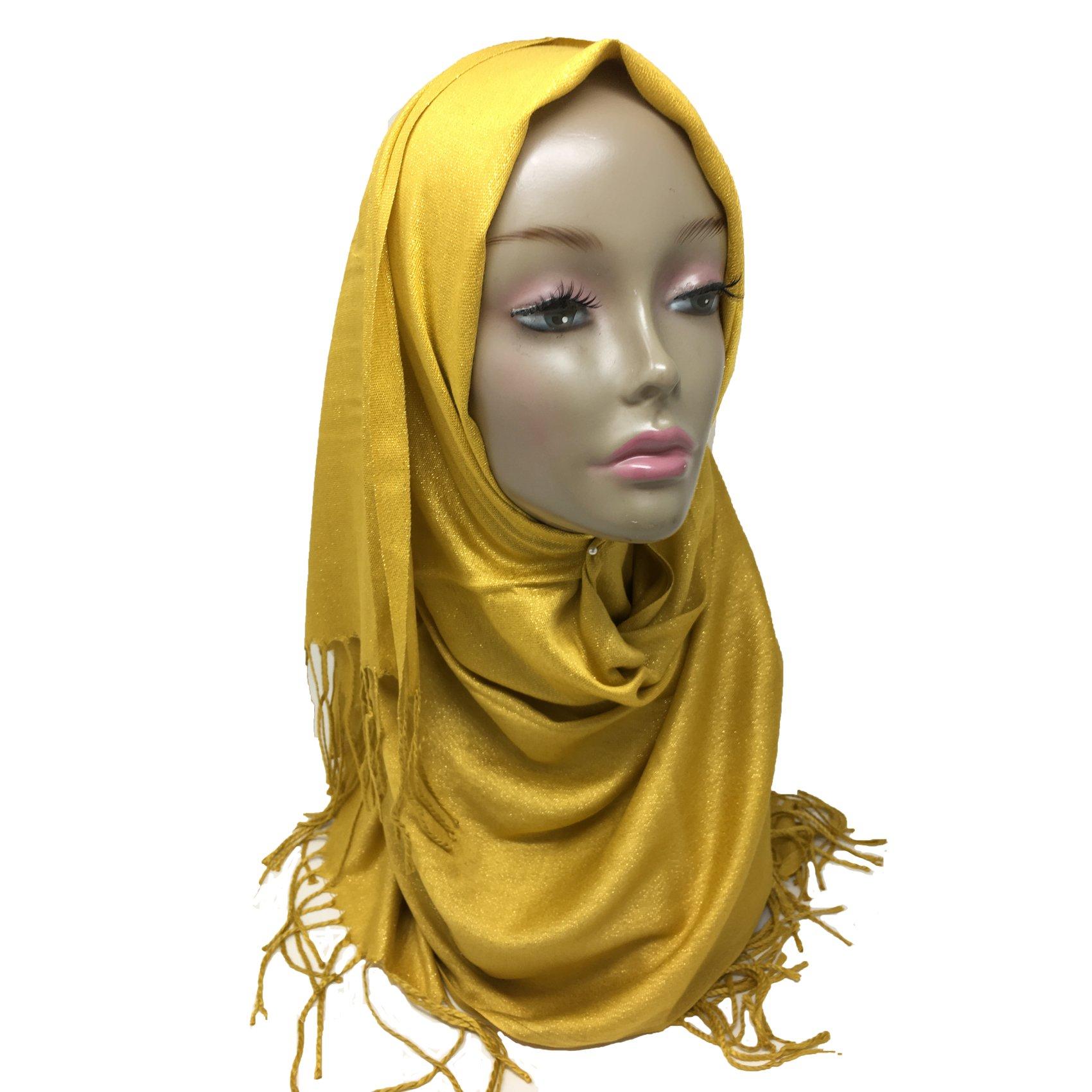 Hayaa Clothing Jewel Tone Gold Shimmer Viscose Hijab Scarf with Fringe (Yellow)
