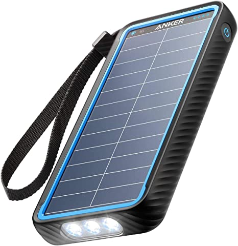 Anker Cargador Solar, PowerCore Solar 10000 de doble puerto con linterna, IP64 a prueba de salpicaduras, a prueba de polvo para actividades al aire ...
