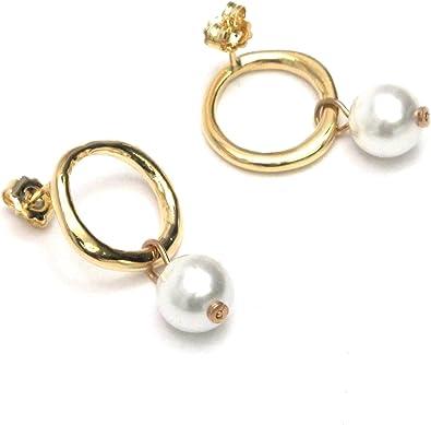 COLECCION7X7,pendiente chapado oro,serie ibiza, 20mm,perla mallorca,sin niquel y antialergico.fabricado en España: Amazon.es: Joyería