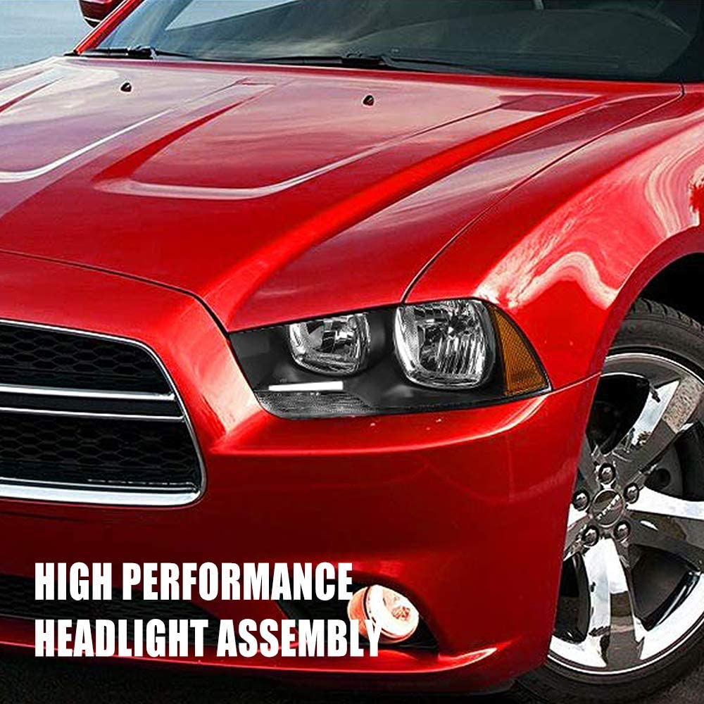 Smoked Black Housing Headlight Assembly Compatible with 2011//2012 2013//2014 Dodge Charger Smoked Black Housing Headlamp Front Light Pair Driver and Passenger Side