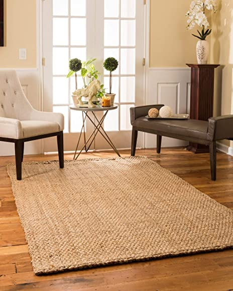 Natural Area Rugs 100 Natural Fiber Handmade Basketweave Chunky Castillian Jute Rectangular Rug 6' X 9' Beige
