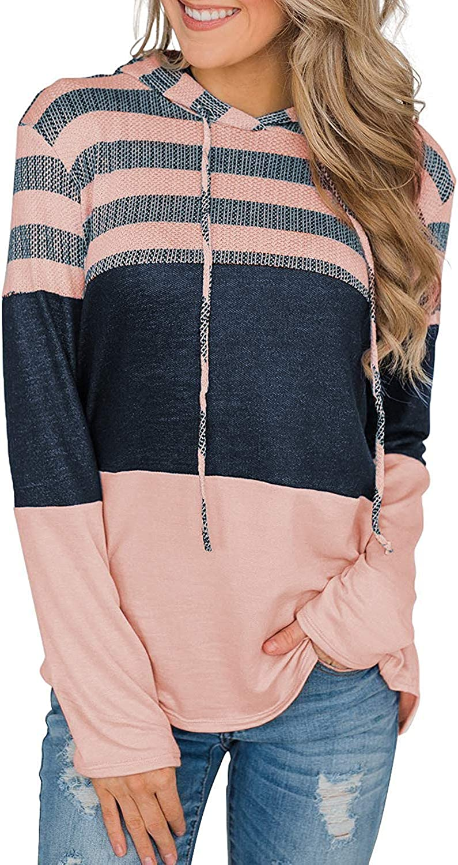Womens Hoodies Long Sleeve Drawstring Sweatshirts Color Block Striped Pullover Tops