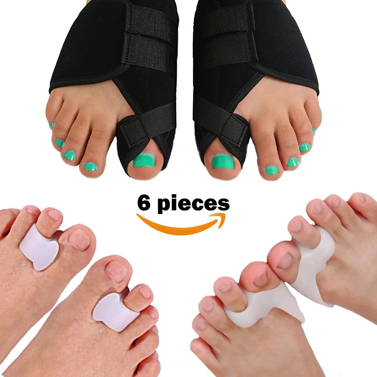 Lejero Bunion Corrector Kit for Men & Women - 6pcs Gel Toe Separators & Orthopedic Bunion Splint, Hallux Valgus Brace, Bunion Cushions & Pad, Toe Spacers, Tailors Bunion Corrector for Girls (Medium)