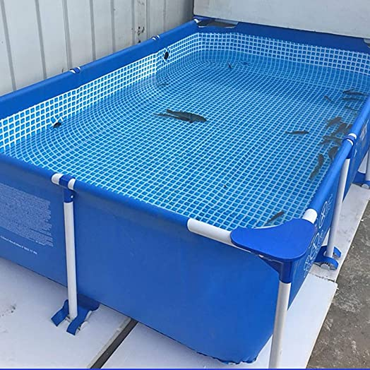 Rectangle Framed Swimming Kiddie Pool, Swimming Pool Above Ground for Kids, PVC Support Inner Nets Fabric, 7 Foot Long, 2 Foot Depth, Family Swim Center Pool, Blue