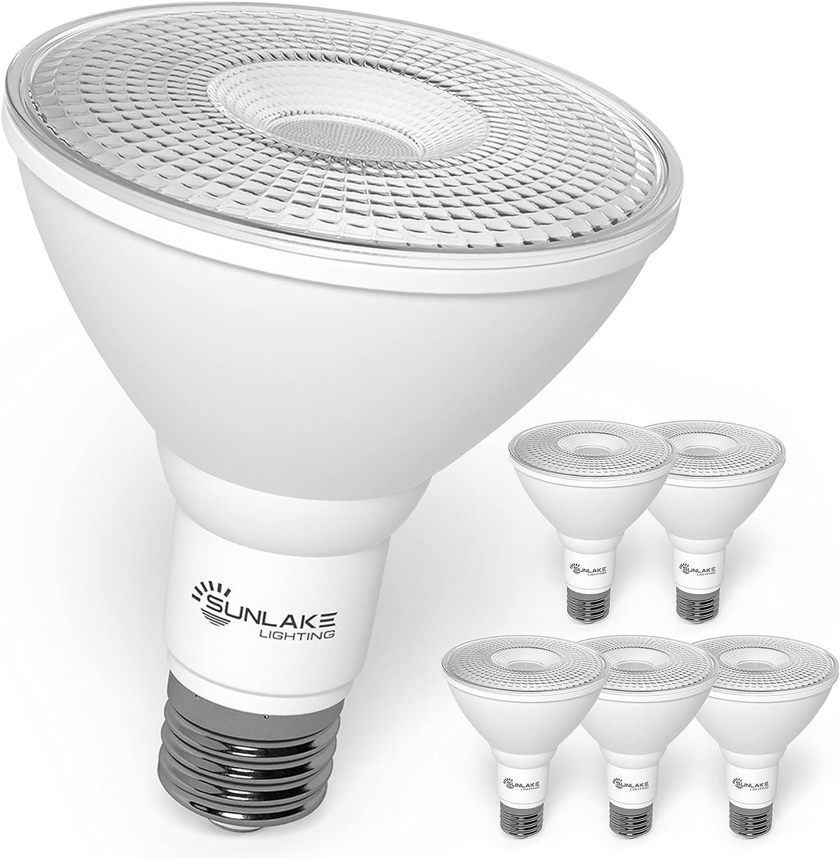 SunLake 6 Pack par30 led Flood Light Bulb, 10 WATT (75 WATT Equivalent), Dimmable 5000K Daylight, E26 Base spot Light, Wet Rated Waterproof, Indoor/Outdoor, UL & Energy Star