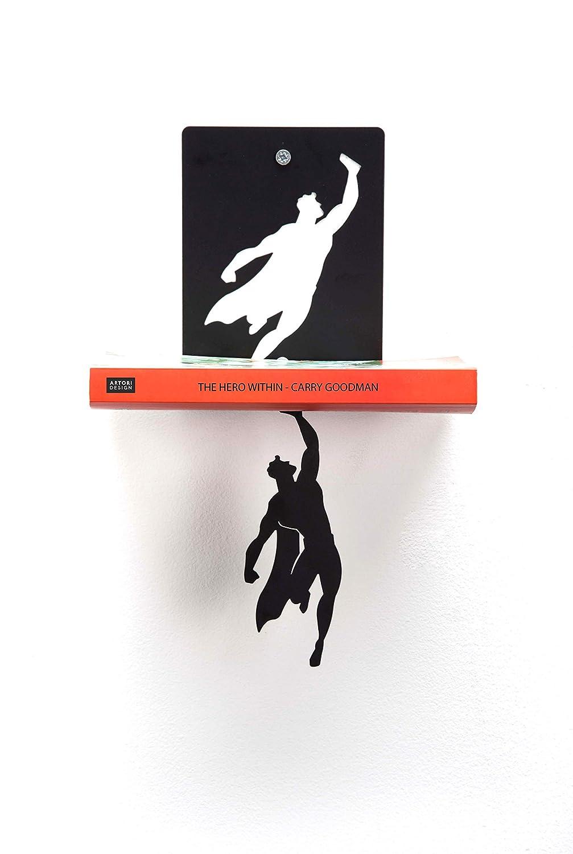 Unique Book Shelves Concealed Gifts for Book Lovers Hidden Shelf Cool Book Stacker Stopper AD102 Black Metal Superhero Floating Bookshelf Artori Design Supershelf Gifts for Geeks