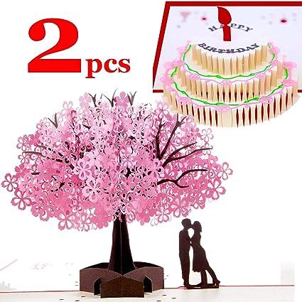 SLOSH 2 Tarjeta Felicitación Cumpleaños Regalo 3D Pop-up de Primavera Boda Regalo Navidad San ValentinDia de la madre Graduación Invitacion Niños
