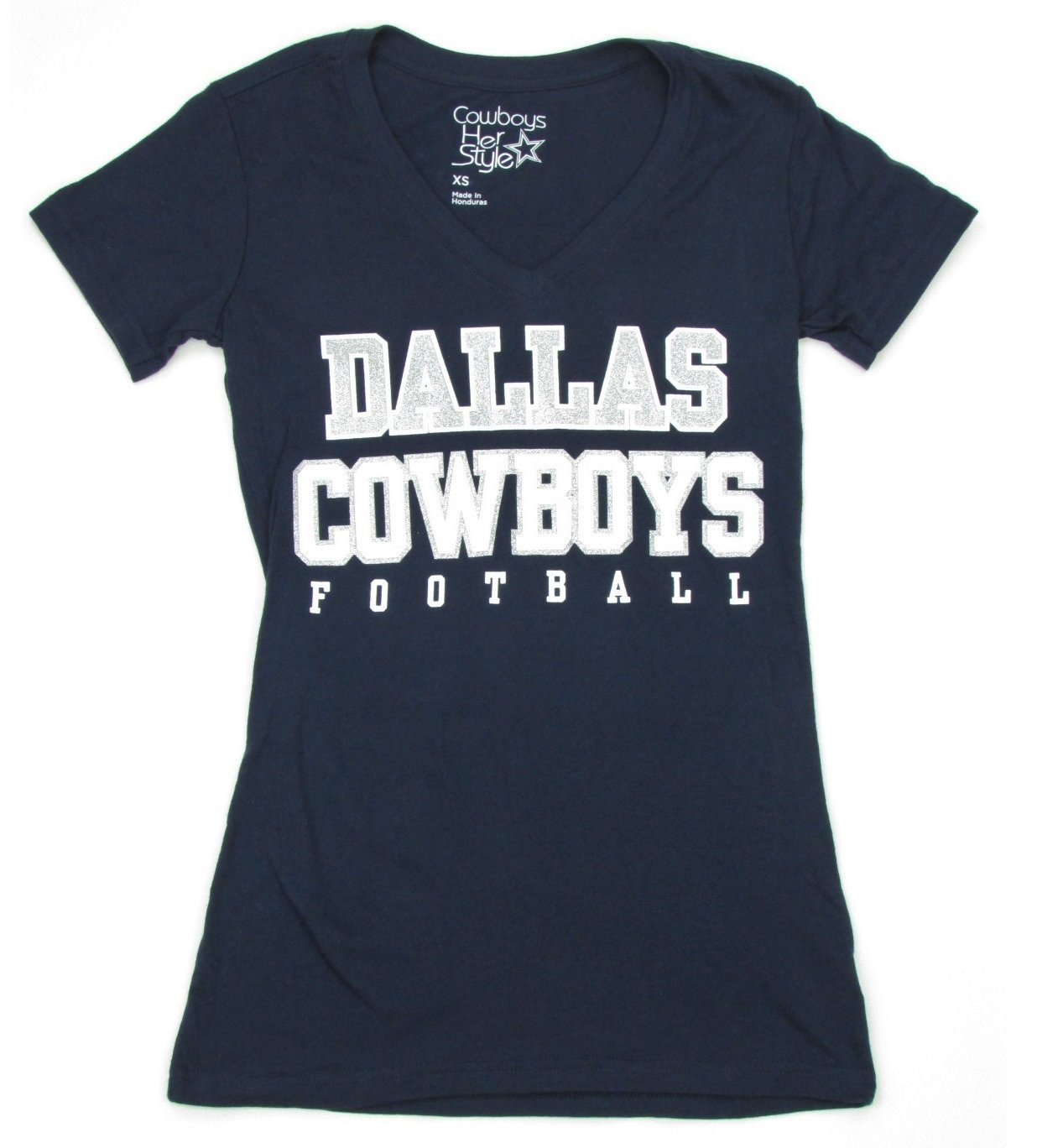 Amazon.com   Dallas Cowboys Women s Navy Practice Glitter V-neck T-shirt    Sports   Outdoors 562747824