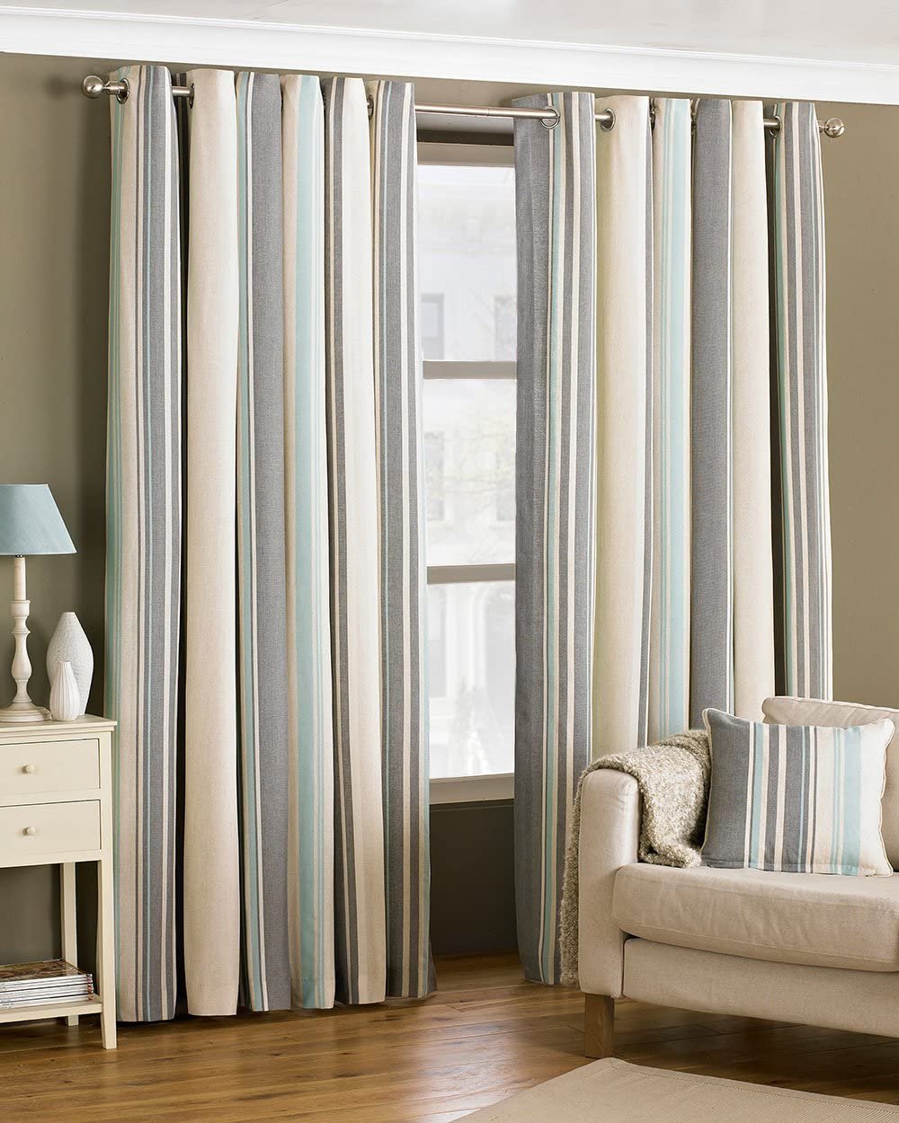 """Riva Paoletti Broadway Ringtop Eyelet Curtains (Pair) - Blue, Grey And Cream - Modern Striped Design - Ready Made - Room Darkening Design - Polycotton - 117Cm Width X 137Cm Drop (46"""" X 54"""" Inches) Duck Egg 46x54 (117x137cm)"""