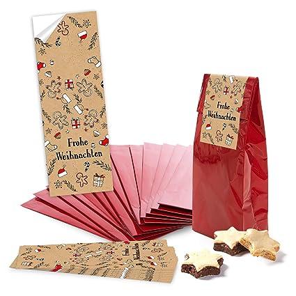 100 Bolsas de papel pequeñas weihnachtliche rojas Negro ...