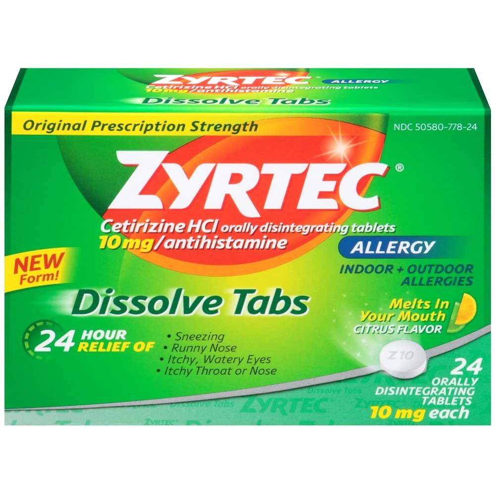 Zyrtec Citrus Allergy Dissolve Tab - 24 per pack -- 24 packs per case.