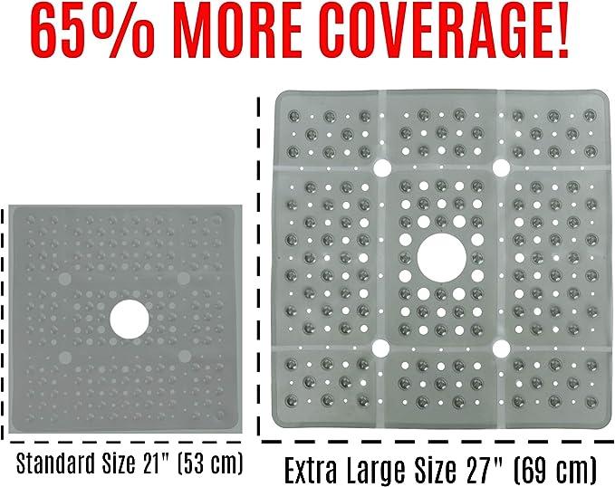 65/% M/ás Grande, 69 cm x 69 cm SlipX Solutions Tama/ño Extra Grande Cuadrado Alfombrilla de Ducha Perla Blanca