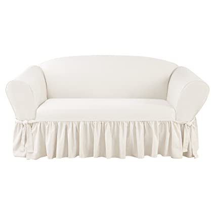 Outstanding Amazon Com Sure Fit Essential Twill One Piece Ruffled Pdpeps Interior Chair Design Pdpepsorg