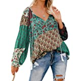 Actloe Women Boho Tops Floral Print Long Sleeve Tops V Neck Casual Loose Womens Tops and Blouses