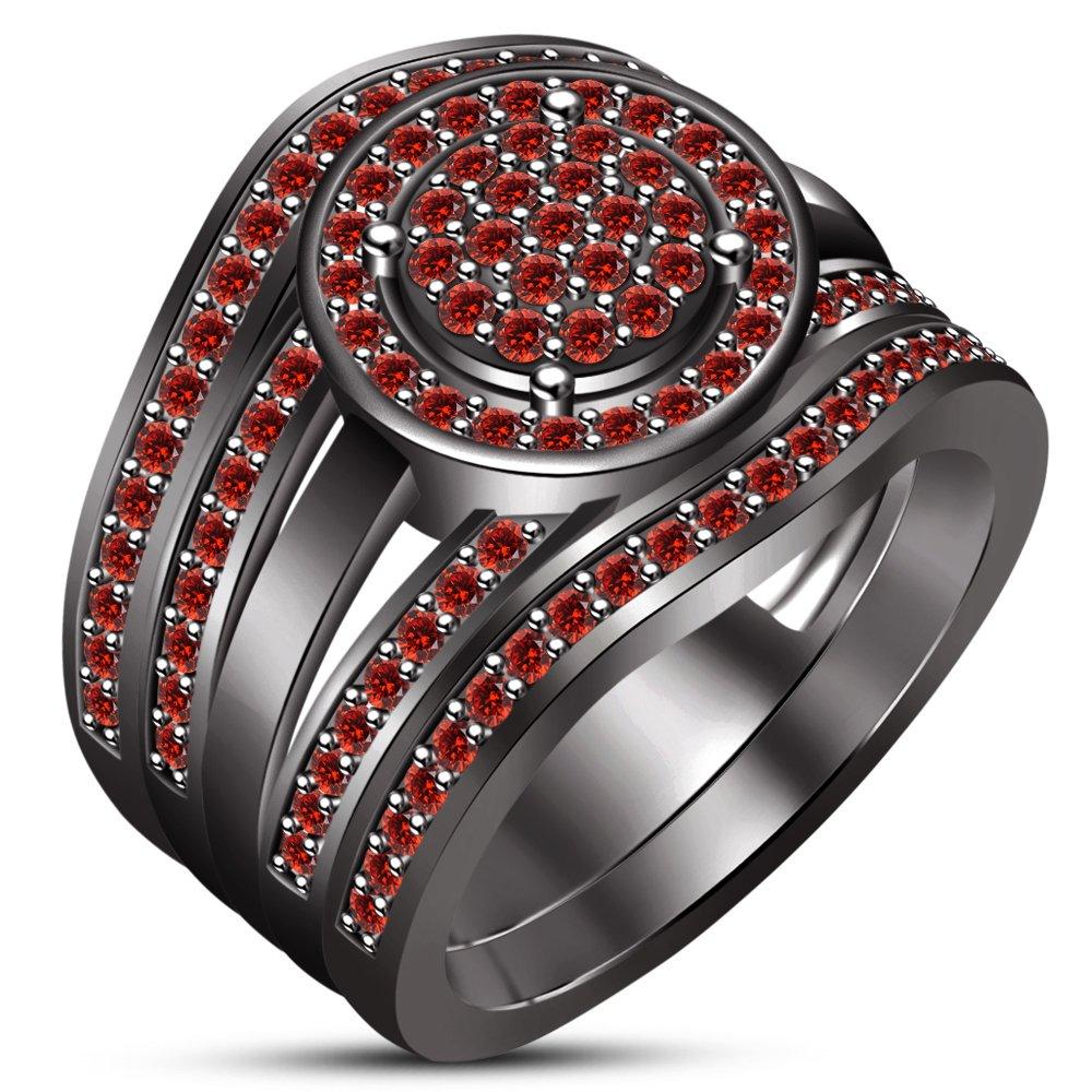 TVS-JEWELS Trio Wedding Ring Set In Black Rhodium Plated Sterling Silver Round Cut Red Garnet Gemstone (9.25) by TVS-JEWELS