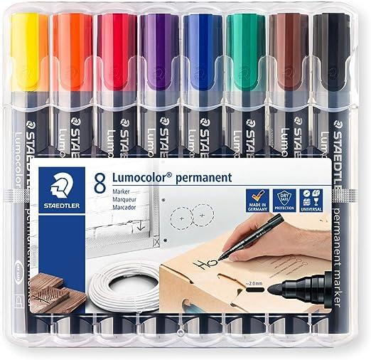 Staedtler 352 WP8. Rotuladores permanentes de colores. Caja con 8 unidades: Amazon.es: Oficina y papelería