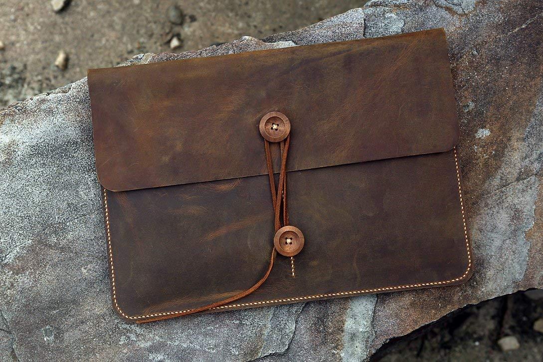 """Vintage Distressed genuine leather macbook sleeve case for new macbook 12"""" / macbook air 11"""" 13"""" / macbook pro retina cover bag MACX05C-N"""