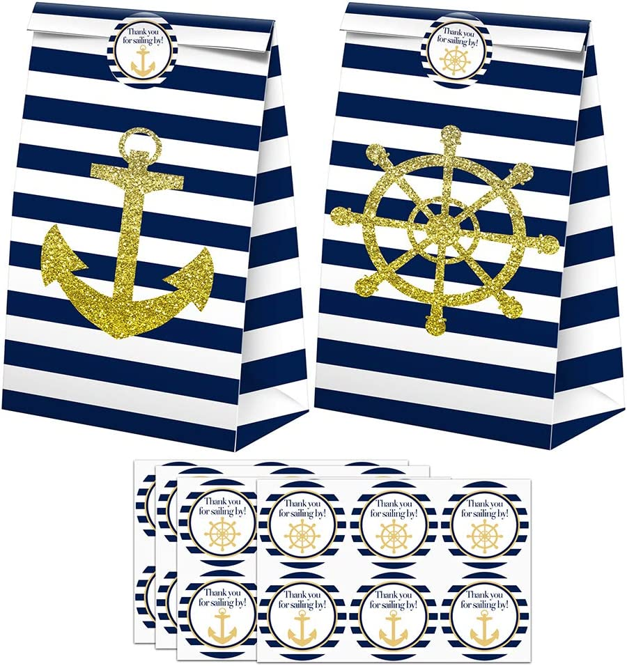 Nautical Goodie Bags-24 Pcs Nautical Party Favors Candy Bags with Stickers, Nautical Goody Gift Treat Bags Nautical Themed Birthday Party Supplies