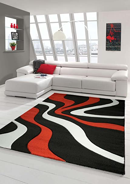 Salon Tapis Contour Coupe Carreau a motif Designer Tapis Kurzflor rouge