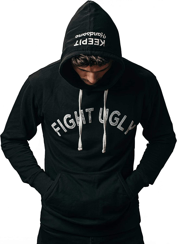 KEEPIT Handsome /'Fight Ugly/' Long Sleeve Hoodie Sweatshirt