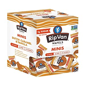 Rip Van Wafels Dutch Caramel & Vanilla Mini Stroopwafels - Low Carb Snacks (3g Net Carbs) - Non GMO Snack - Keto Friendly - Office Snacks - Low Calorie Snack (34 Calories) - Low Sugar (1g) - 32 Pack