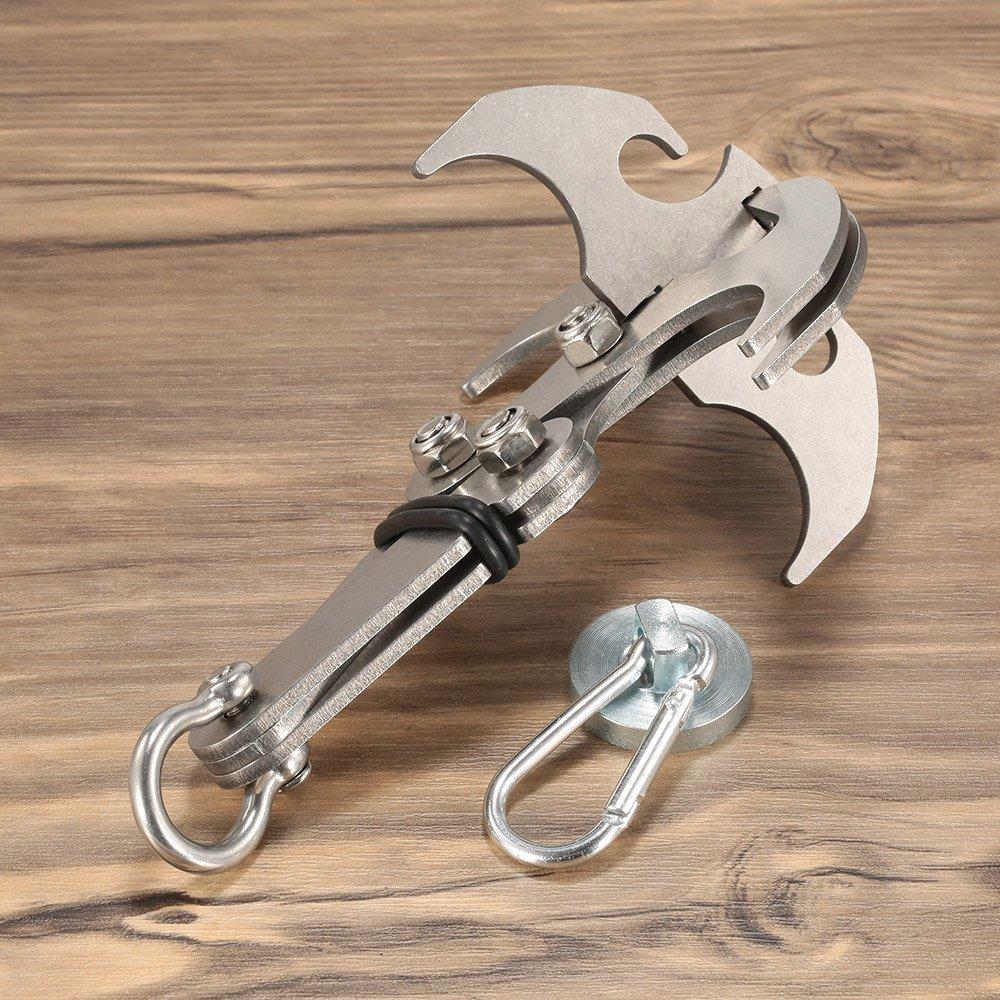 Cyfie Multifuncional Grappling Hook Garfio de Escalada Plegable Magn/ético Carga Pesada del Ancla Del Acero 150KG