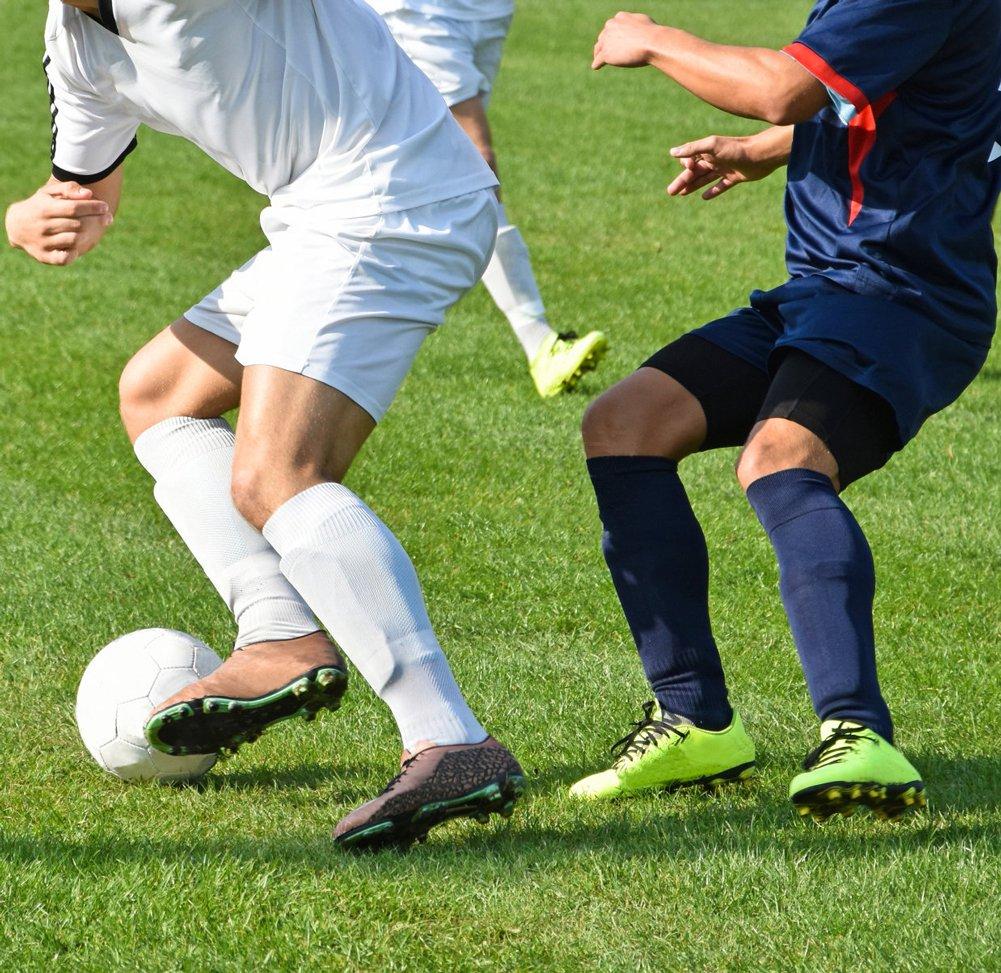 SUMKIA LIFE Chaussettes de Football pour Hommes Chaussette de Compression Hautes gar/çon /élastique Fait de Coton Respirant /à Chambre dair rembourr/é de Genou Haut 3 Paires
