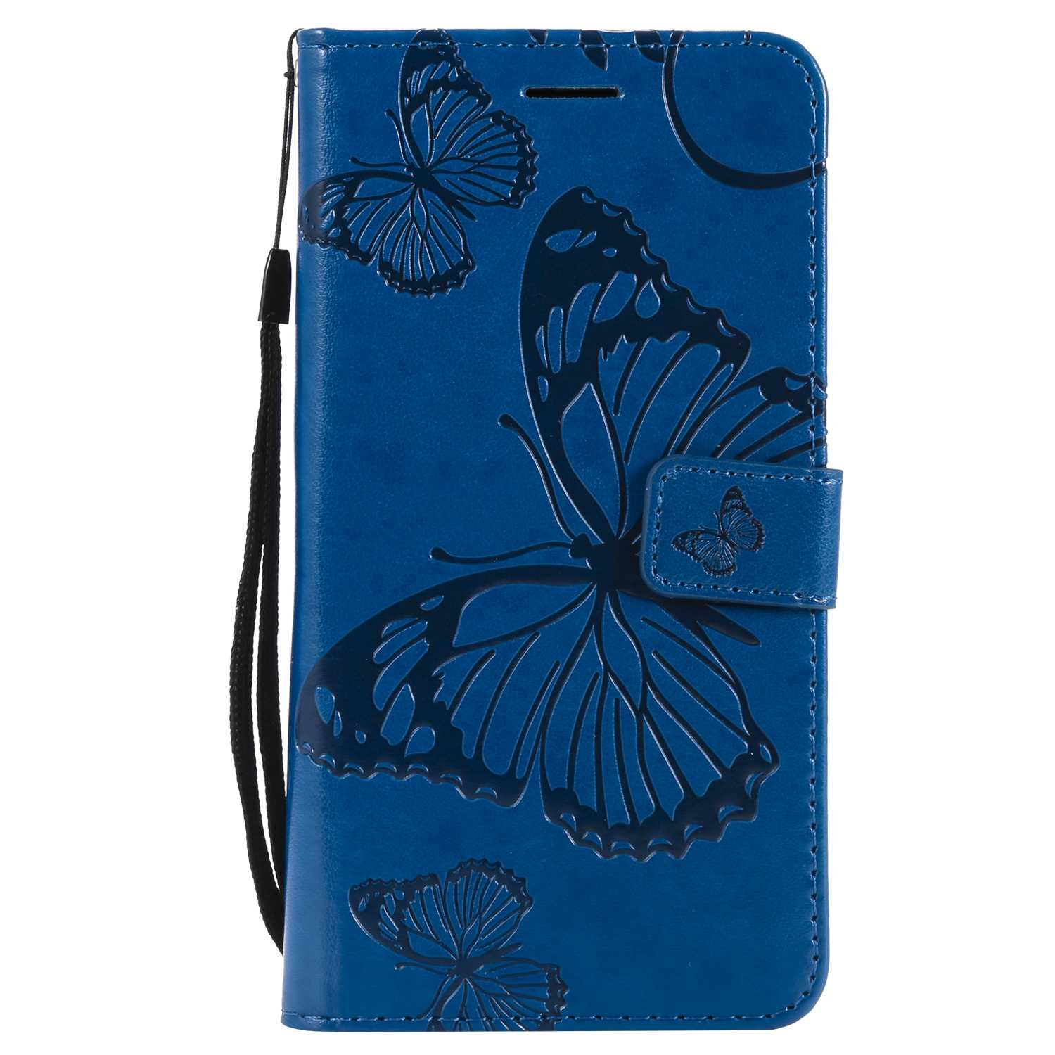 CUSKING Case for Samsung Galaxy J7 2016, Leather Flip Cover Magnetic Wallet Case with Butterfly Embossed Design, Case with Card Holders and Kickstand - Blue