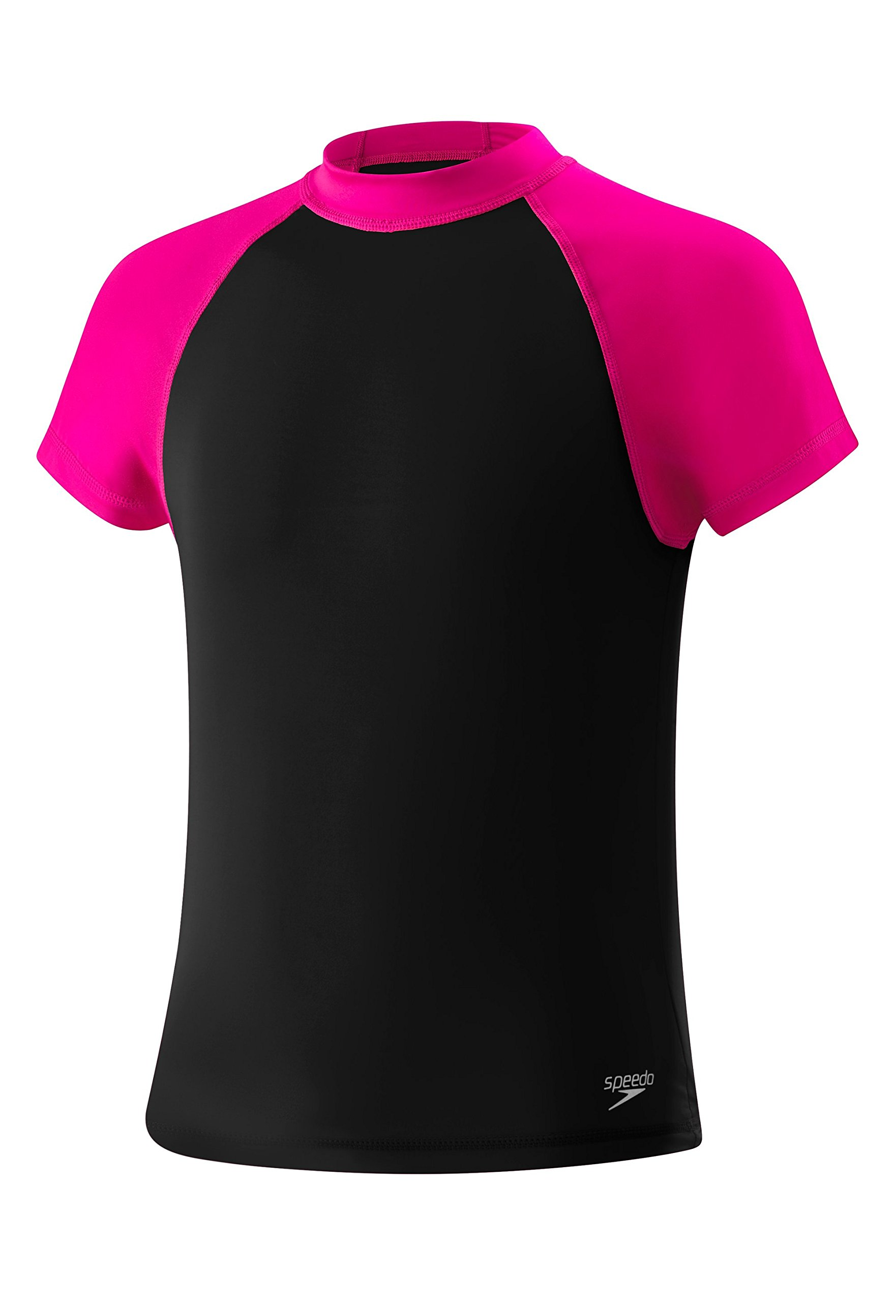 Speedo Girls Colorblock Short Sleeve Rash Guard Swim T-Shirt, New Black, Large