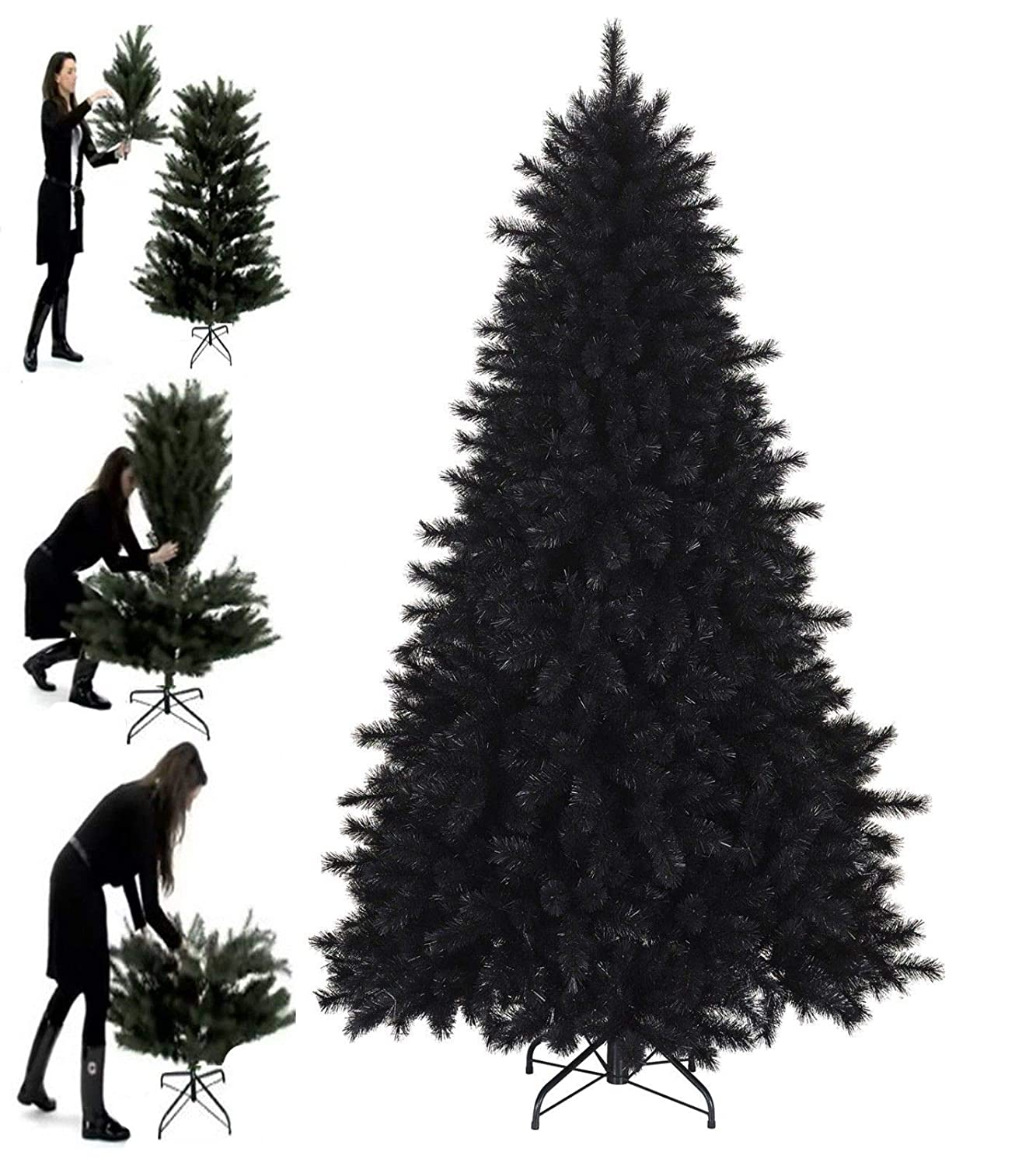 Green, 5 Feet SAFRI Green /& Black 5 6 7 Feet Pine Look Artificial Christmas Tree 440 700 1000 Thick Tips Xmas Home Office Indoor Decoration